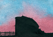Indiana Scenes Paintings - Silhouette Farm Number 1 by R Kyllo