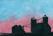 Indiana Scenes Painting Metal Prints - Silhouette Farm Number 2 Metal Print by R Kyllo