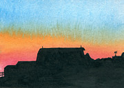 Indiana Landscapes Painting Prints - Silhouette Farmstead Print by R Kyllo