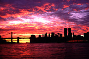 All - Silhouette Lower Manhattan Sunset Pre September 11 by Tom Wurl
