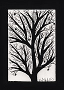 Lino Cut Print Framed Prints - Silhouette Maple Framed Print by Barbara St Jean