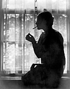 New Years Prints - Silhouette Of A Woman Smoker Print by Underwood Archives