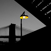 Sights Art - Silhouette of Brooklyn Bridge New York City by Sabine Jacobs