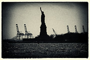 Filmnoir Posters - Silhouette of Miss Liberty Poster by Sabine Jacobs