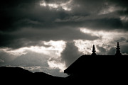 Kali Posters - Silhouette of monastery doors in mountain Poster by Raimond Klavins