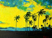 Beach Scenery Painting Prints - Silhouette of Nature Print by Patricia Awapara