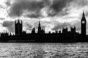 White River Scene Art - Silhouette of  Palace of Westminster and the Big Ben by Semmick Photo