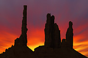 Silhouette Digital Art Prints - Silhouette of Totem Pole After Sunset - Monument Valley Print by Mike McGlothlen