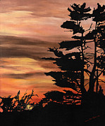 Dusk Paintings - Silhouette Sunset by Mary Ellen Anderson