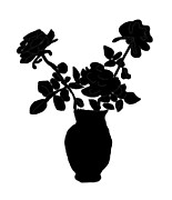 Vase Of Flowers Posters - Silhouette Vase of Flowers Poster by Kate Farrant