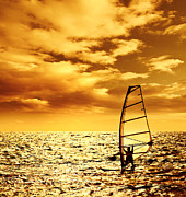 Surf Silhouette Framed Prints - Silhouette windsurfer over sunset Framed Print by Anna Omelchenko