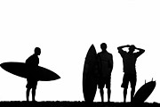 Silhouettes Framed Prints - Silhouetted Surfers Framed Print by Sean Davey