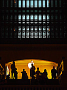 Black Commerce Art - SIlhouettes Apple Store at Grand Central Station New York by Miriam Danar