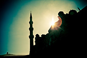 Byzantine Pyrography Prints - Silhouettes of Blue Mosque Istambul Turkey Print by Raimond Klavins
