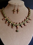 Gold Earrings Mixed Media - Silk Braid with Unakite by Jan  Brieger-Scranton