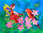 Wings Tapestries - Textiles Prints - Silk Fairy and Parrot Print by Sandra Fox