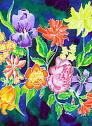Flower Tapestries - Textiles Originals - Silk Floral 1 by Sandra Fox