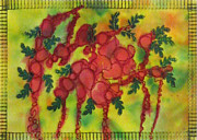 Red Art Tapestries - Textiles Posters - Silk Flowers Poster by Jean Baardsen