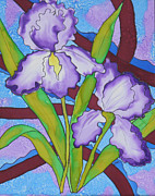 Purple Flowers Tapestries - Textiles Posters - Silk Iris Poster by Sandra Fox