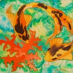 Animals Reliefs Posters - Silk Koi Poster by Joanne Smoley