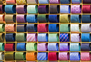 Italian Market Shelves Photo Framed Prints - Silk Neckties Framed Print by Sheldon Kralstein