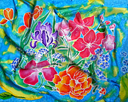 Blue Flowers Tapestries - Textiles Posters - Silk Summer Bouquet Poster by Sandra Fox