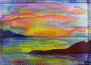 Beach Tapestries - Textiles Posters - Silk Sunset Poster by Jean Baardsen
