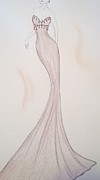 Ball Gown Drawings Metal Prints - Silken Mink Metal Print by Christine Corretti