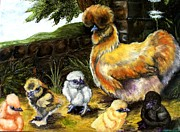 Hens And Chicks Paintings - Silkie Hen and chicks by Amanda  Stewart