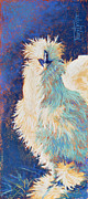 Periwinkle Pastels Posters - Silkie Rooster Poster by Tracy L Teeter