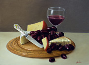 Wine Glass Paintings - Sill life Cheese board by John Silver