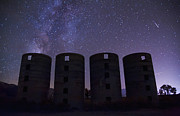Night Framed Prints - Silos at Night Framed Print by Cat Connor
