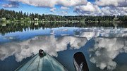 Cloud Reflections Photos - Siltcoos Morning View 1 by Lara Ellis