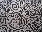 Jennifer Vazquez Metal Prints - Silver and black swirled ink painting Metal Print by Jennifer Vazquez