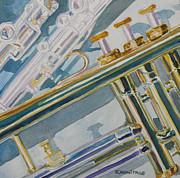 Trumpets Paintings - Silver and Brass Keys by Jenny Armitage