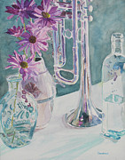 Glass Bottle Painting Posters - Silver and Glass Music Poster by Jenny Armitage