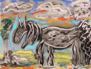 Primitive Drawings - Silver and Sumi Horse by Mary Carol Williams