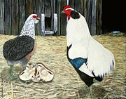 Hens And Chicks Paintings - Silver   Araucana  SOP by Amanda  Stewart