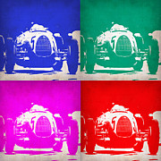 German Classic Cars Prints - Silver Arrow Pop Art 1 Print by Irina  March