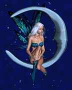 Long Necklace Digital Art - Silver-blue Moon Fairy with starry nighttime background - 1 by Fairy Fantasies