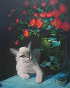 Tonkinese Posters - Silver Cat with Red Flowers Poster by Sue Cervenka