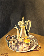 Silver Tea Pot Paintings - Silver Coffee Set by Art By Tolpo Collection