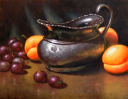 Grapes Paintings - Silver Creamer by Timothy Jones