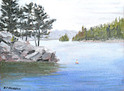River View Paintings - Silver Day Wellesley Island State Park NY by Robert P Hedden