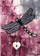Card Tapestries - Textiles - Silver Dragonfly by Jean Baardsen