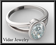Custom Ring Jewelry - Silver Engagement Ring With Blue Aquamarine by Roi Avidar