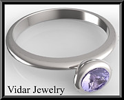 Custom Ring Jewelry - Silver Engagement Ring With Blue Sapphire by Roi Avidar