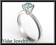Custom Ring Jewelry - Silver Engagement Ring With Blue Topaz by Roi Avidar