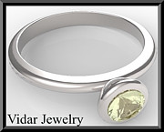 Custom Ring Jewelry - Silver Engagement Ring With Lemon Quartz by Roi Avidar