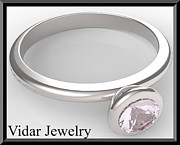 Custom Ring Jewelry - Silver Engagement Ring With Rose Quartz by Roi Avidar